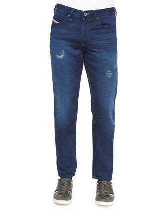 Distressed Relaxed-Fit Denim Jeans, Dark Blue