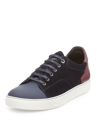 Low-Top Sneaker with Contrast Heel, Blue/Light Gray