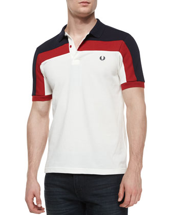 Contrast-Panel Pique Polo Shirt, White/Red/Navy