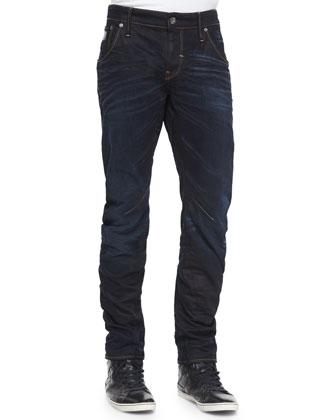 Arc 3D Slim-Fit Aged Denim Jeans, Dark Blue