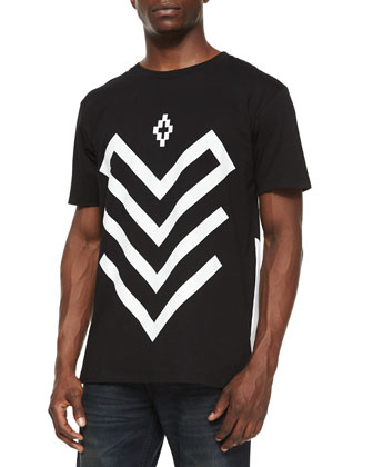 Arrow Graphic Short-Sleeve Tee, Black/White