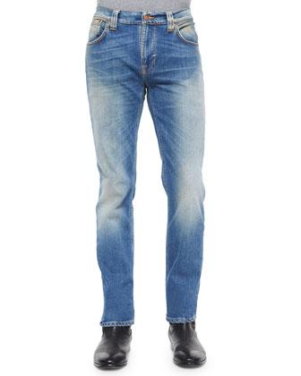 Thin Finn Antique-Wash Denim Jeans, Light Blue