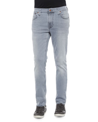 Thin Finn Pale Lead Washed Denim Jeans, Light Gray