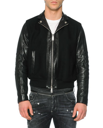 Leather/Wool Moto Bomber Jacket, Black