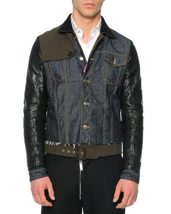 Mixed Media Denim/Leather Jacket, Blue