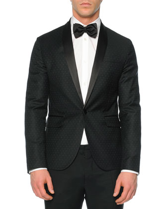 Beverly-Fit Pindot Tuxedo Jacket, Black