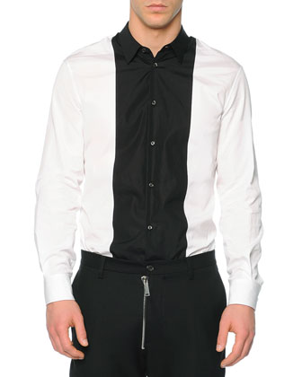 Dsquared2 Leather Moto Vest, Button-Down Shirt with Contrast Bib & Hockney ...