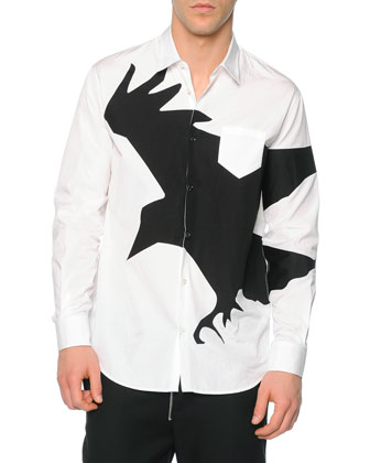 Herringbone Topcoat with Leather Accents, Long-Sleeve Crow-Graphic Sport ...
