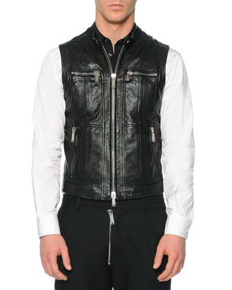Leather Moto Vest, Button-Down Shirt with Contrast Bib & Hockney Zipper ...