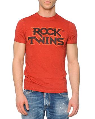 Red Rock Twins-Printed Tee & Slim-Fit Distressed Jeans