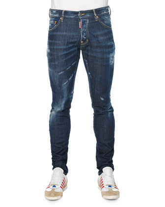 Slim-Fit Distressed Denim Jeans