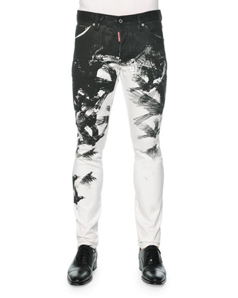 Cool Guy Crow-Print Skinny Jeans, Black/White