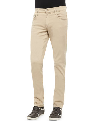 Blake Five-Pocket Slim-Straight Jeans, Beige