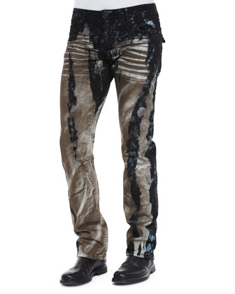 Long-Flap Splash Denim Jeans, Blue/White