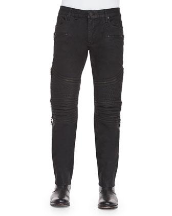 Coated 3D Moto Slim-Fit Jeans, Black