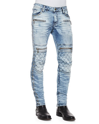 Quilted-Knee Washed Moto Jeans, Light Blue