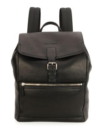 Manhattan Leather Backpack, Black