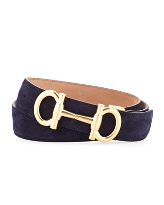 Parigi Golden-Buckle Suede Belt, Blue