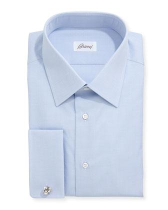 Honeycomb Woven Dress Shirt, Blue