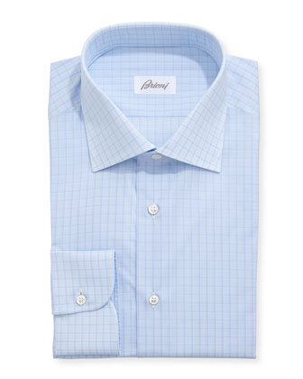 Tonal Box Check Dress Shirt, Light Blue
