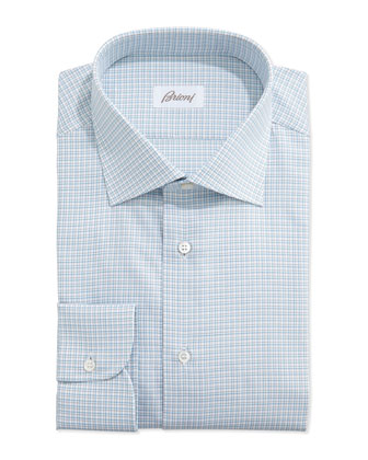 Small-Check Dress Shirt, Aqua/Tan