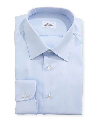 Diagonal Twill Dress Shirt, Light Blue