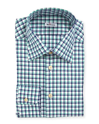 Big-Check Woven Dress Shirt, Navy/Green