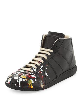 High-Top Lace-Up Sneaker, Black Splatter