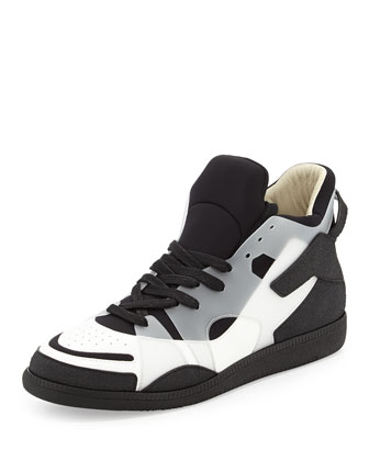 High-Top Lace-Up Sneaker, Black/White