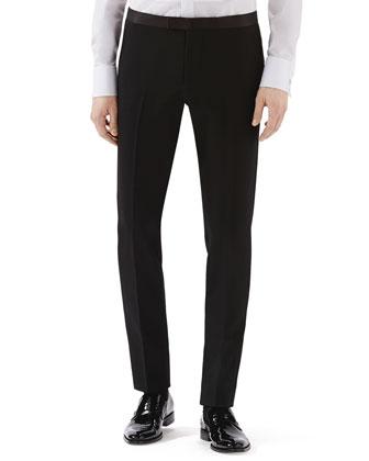 Black Skinny Tux Pants w/ Satin Waist