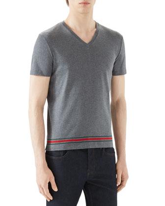 Grey V-Neck T-Shirt w/ Wide Hem