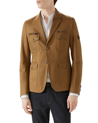 Tan Washed Army Jacket, Duke White Poplin Shirt & Dark Clean Wash ...