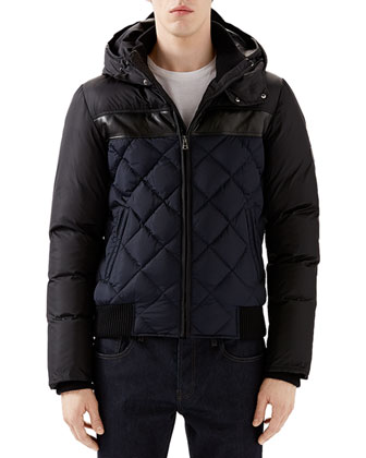 Black/Navy Quilted Hooded Puffer Jacket, White Crew Long-Sleeve T-Shirt w/ ...