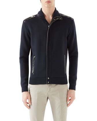 Navy Full Zip w/ Leather Trim & Tan Riding Pants w/ Side ...