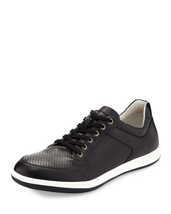 Grain Leather Sneaker, Black