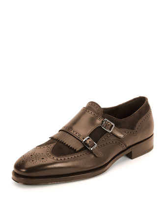 Marlin Textured Calfskin & Suede Double-Monk with Kiltie Shoe, Brown