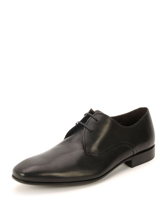 Marte Calfskin 2-Eyelet Lace-Up Shoe, Black