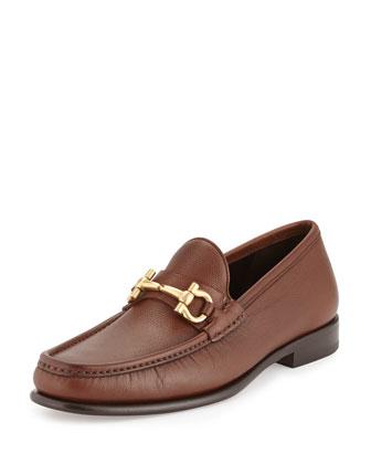 Mason Textured Calfskin Gancini Loafer, Light Brown