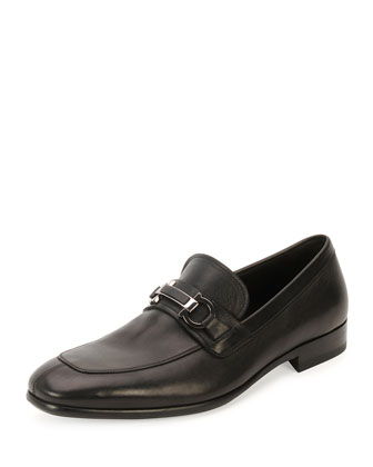 Monaco Calfskin Gancini Loafer with Stone Detail, Black
