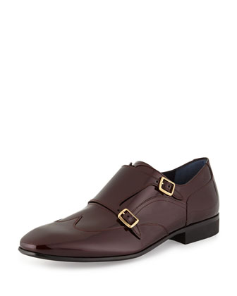 Merida Patent Leather Double-Monk Wing-Tip Shoe, Burgundy