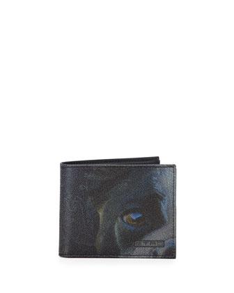 Bulldog-Print Bifold Wallet, Blue
