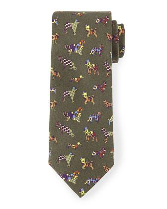 Silk Dog-Print Tie, Green Multi