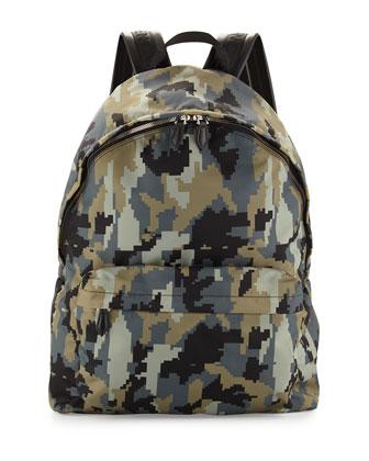 Digital Camo-Print Nylon Backpack, Green