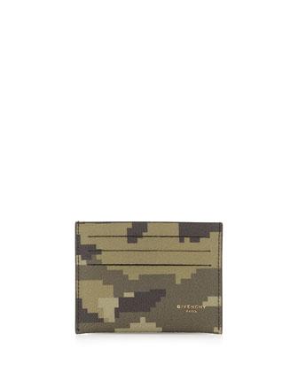 Camo-Print Card Case, Green