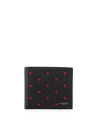 Cross-Print Leather Wallet, Black/Red