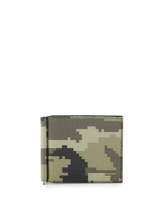 Camo-Print Money Clip Wallet, Green