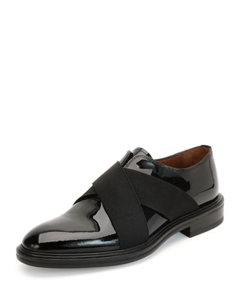 Crisscross Patent Leather Shoe, Black