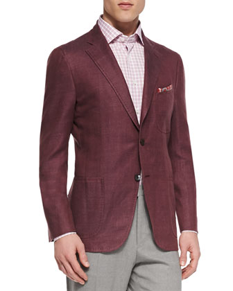 Linen-Look Two-Button Blazer, Berry