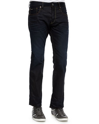 Dark Wash Straight-Leg Jeans, Medium Blue