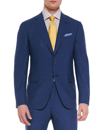 Solid Two-Button Suit, Tattersall Check Dress Shirt & Circle-Patterned Silk Tie